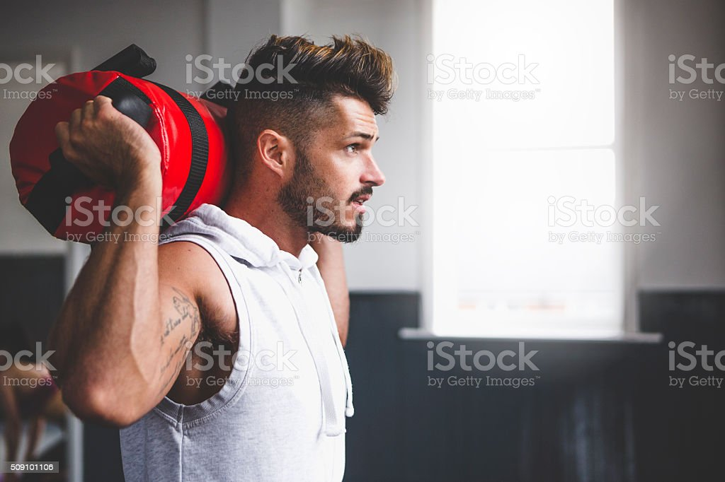 Training with a Powerbag stock photo