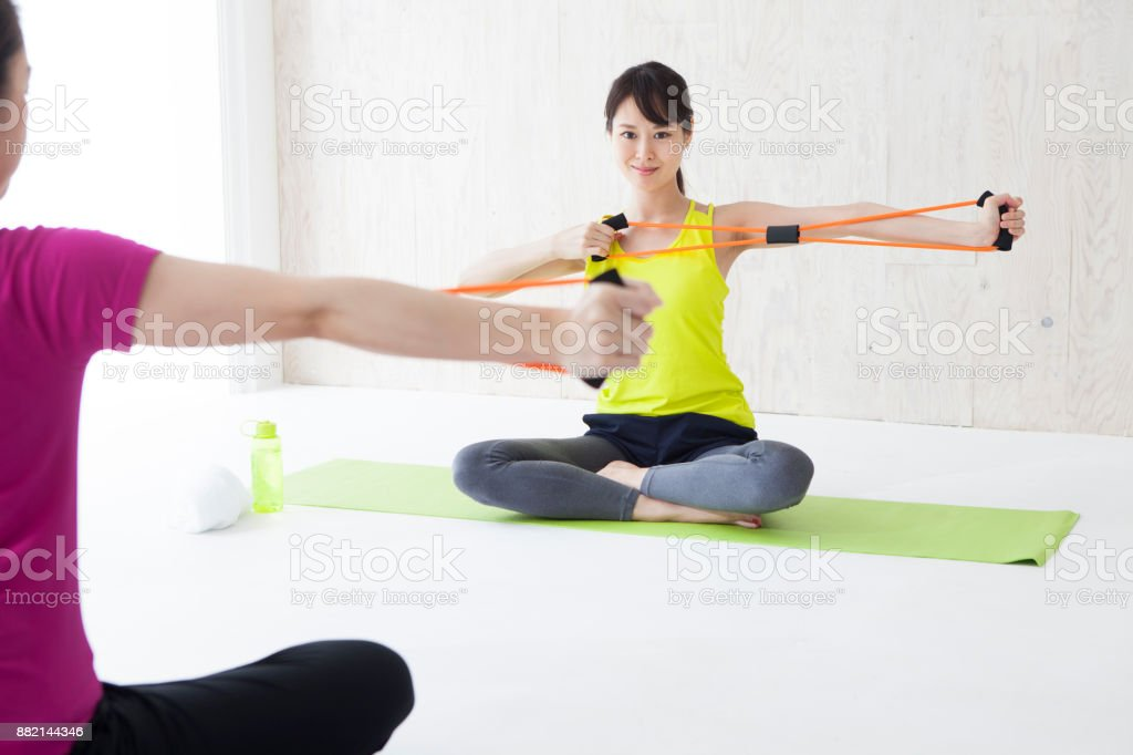 Training with a rubber tube. stock photo