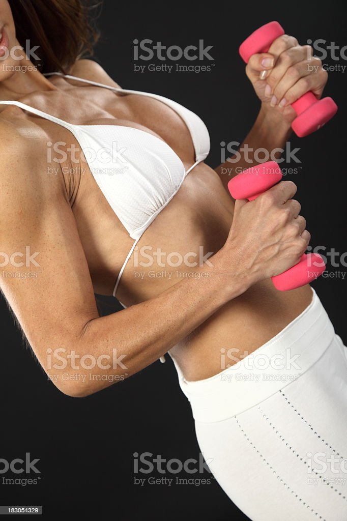 Training with dumbbells royalty-free stock photo