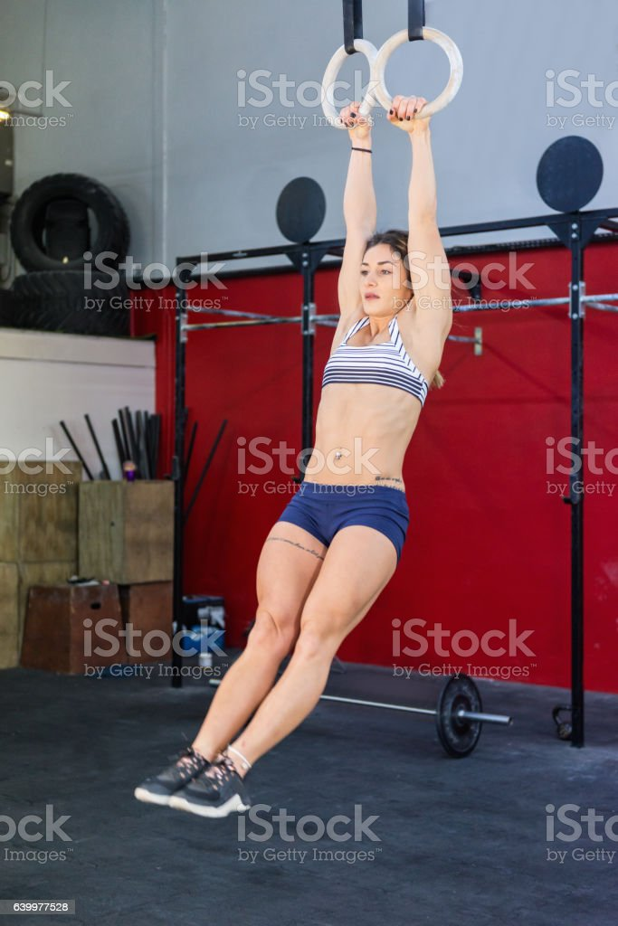 Training with gymnastic rings stock photo