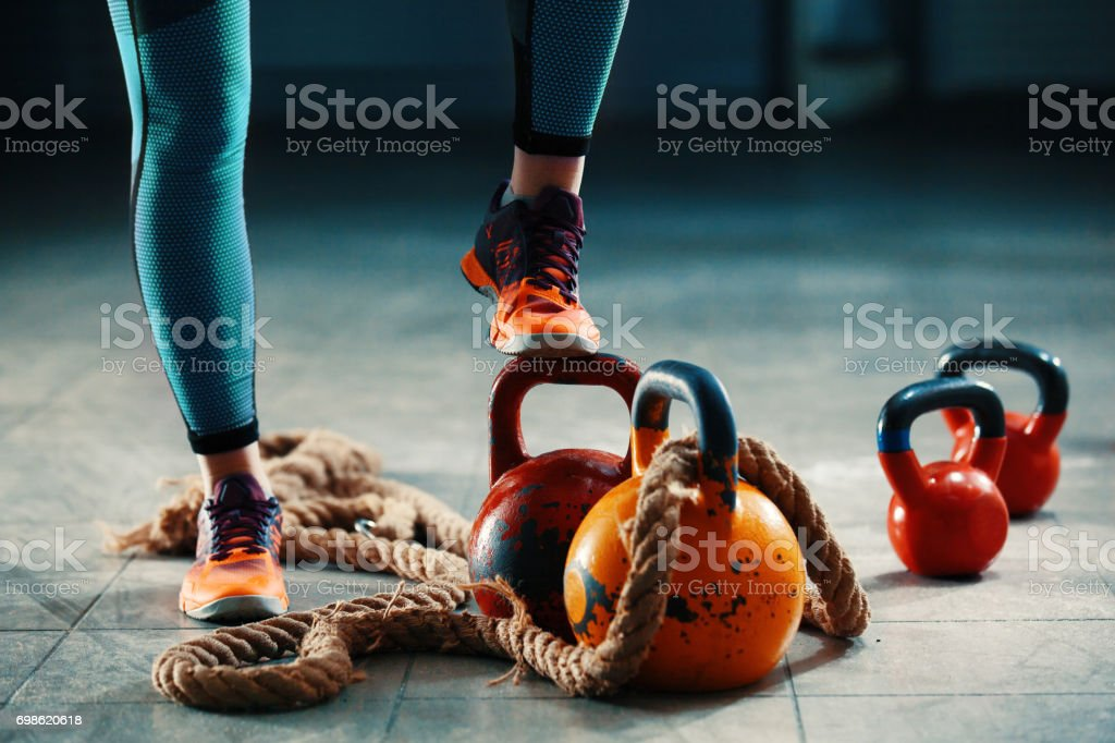 Training with kettlebell stock photo
