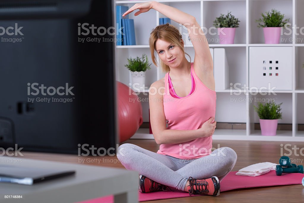 Training with television stock photo