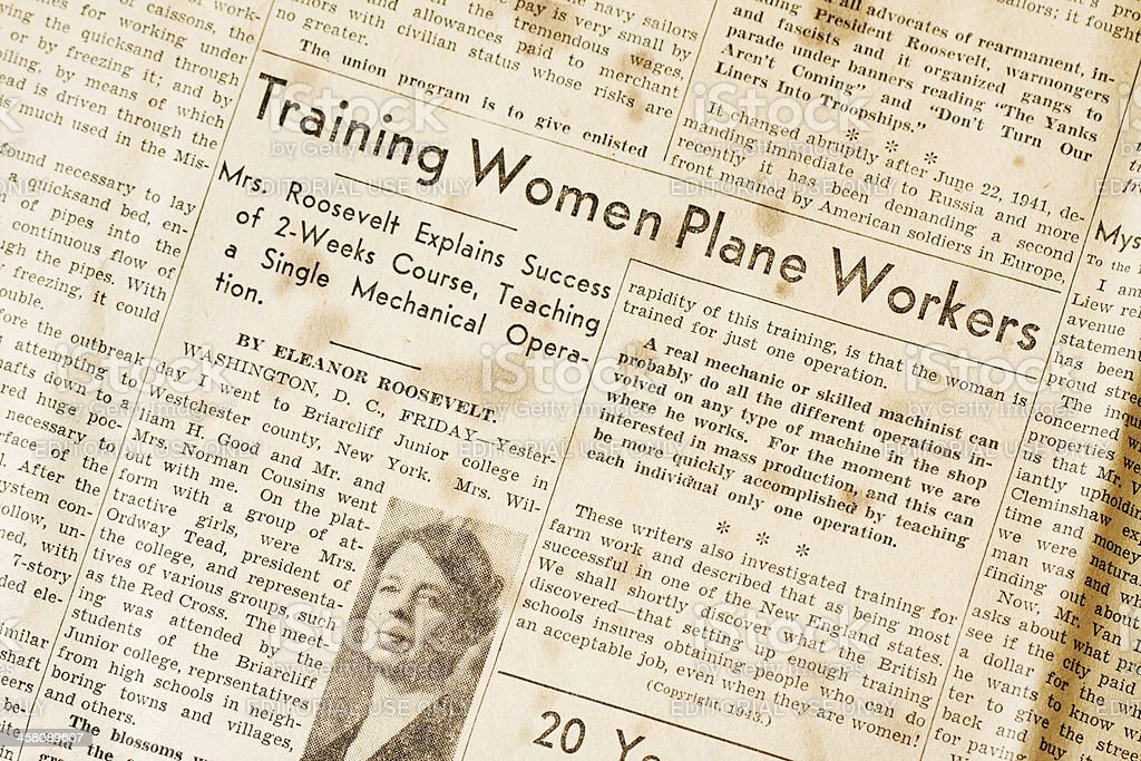 Training Women Plane Workers - Eleanor Roosevelt WWII royalty-free stock photo