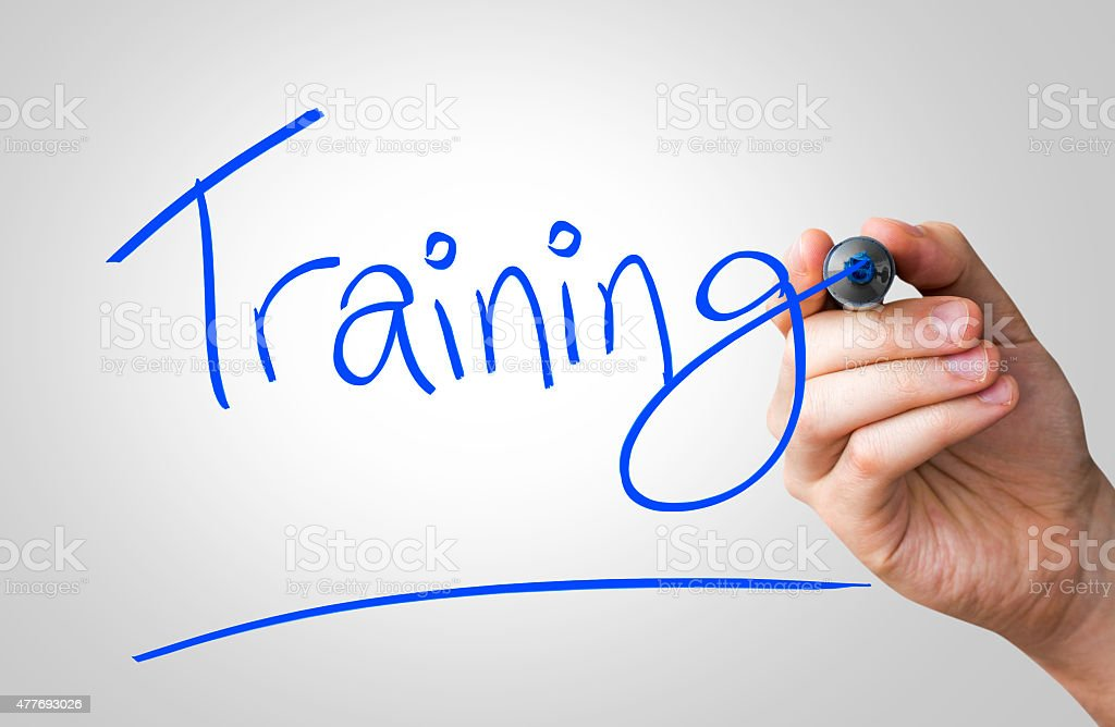 Training written on the Wipe board stock photo