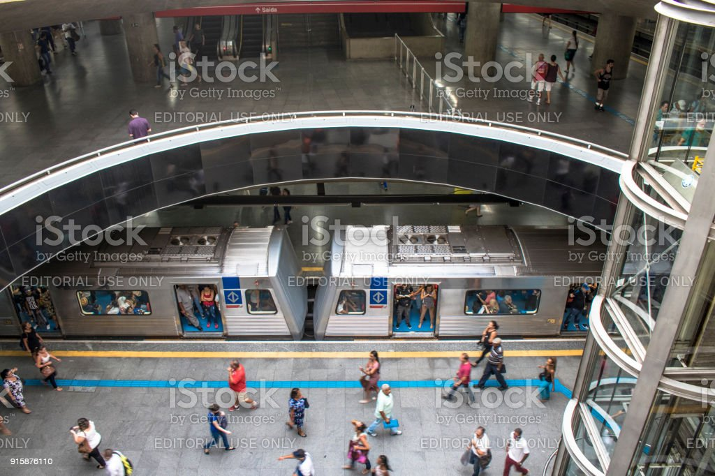 Trains and passengers at the Se Subway Station stock photo