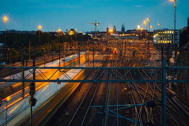 Trains and railroad tracks stock photo