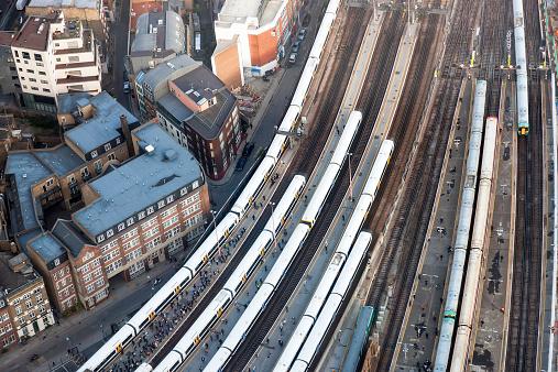 Trains at London Bridge Station, London, UK