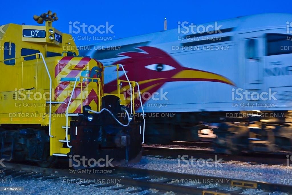 Trains at Night, Santa Fe stock photo