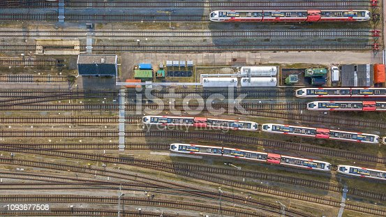 Trains at railroad yard at station district aerial in Netherlands