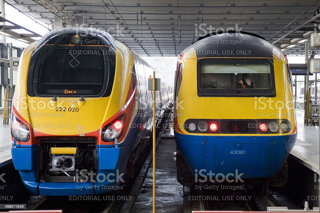 Trains at the London Terminal of St Pancras Railway Station stock photo