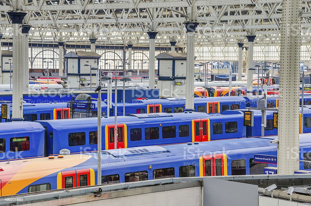 trains at waterloo station, london, uk stock photo