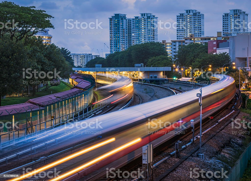 MRT trains entering and leaving AMK station stock photo