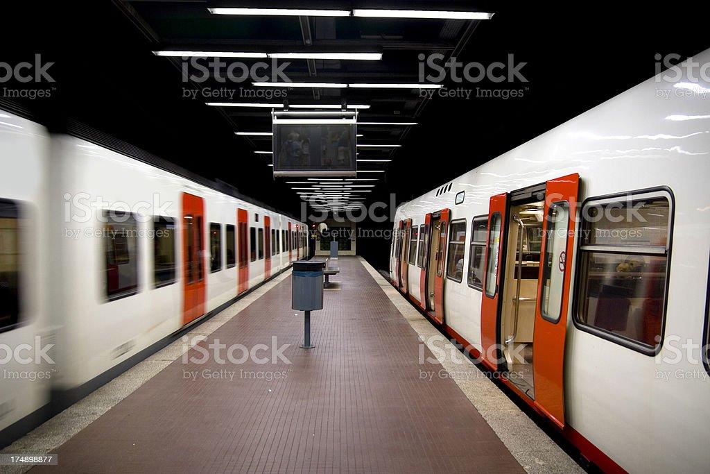 trains in Barcelona underground stock photo