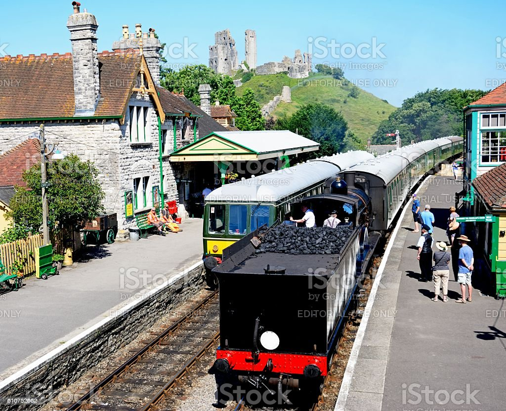 Trains in Corfe Railway Station. stock photo
