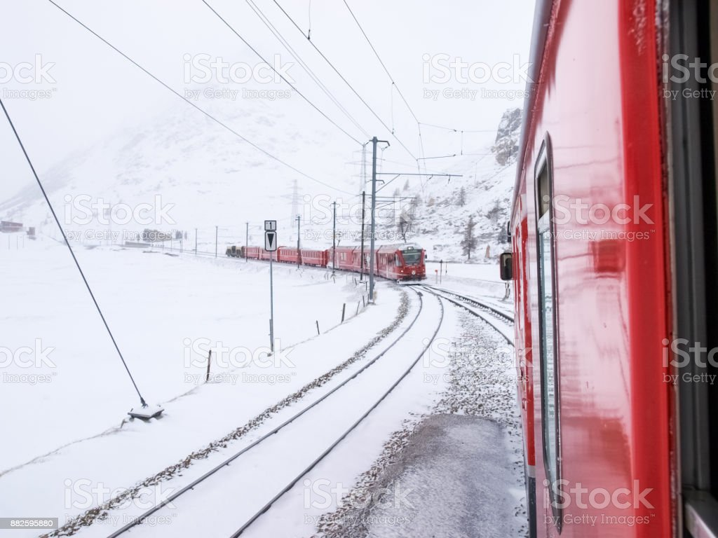 trains of the Rhaetian Railway stock photo