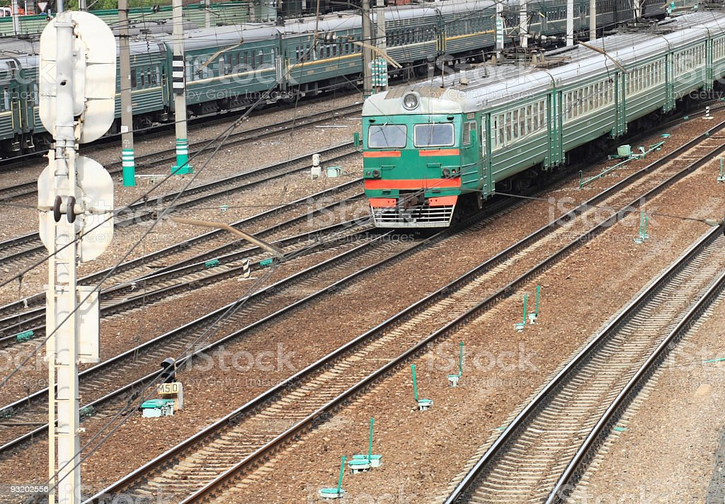 trains on rails royalty-free stock photo