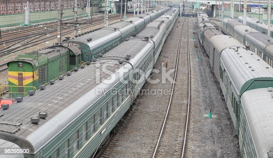 Trains On Rails Stock Photo & More Pictures of Color Image