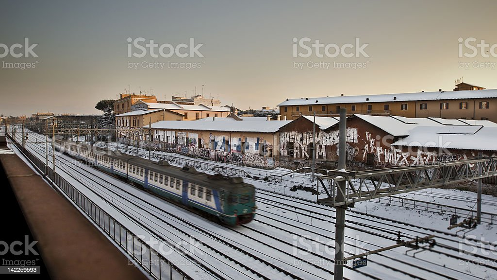 trains on the snow stock photo