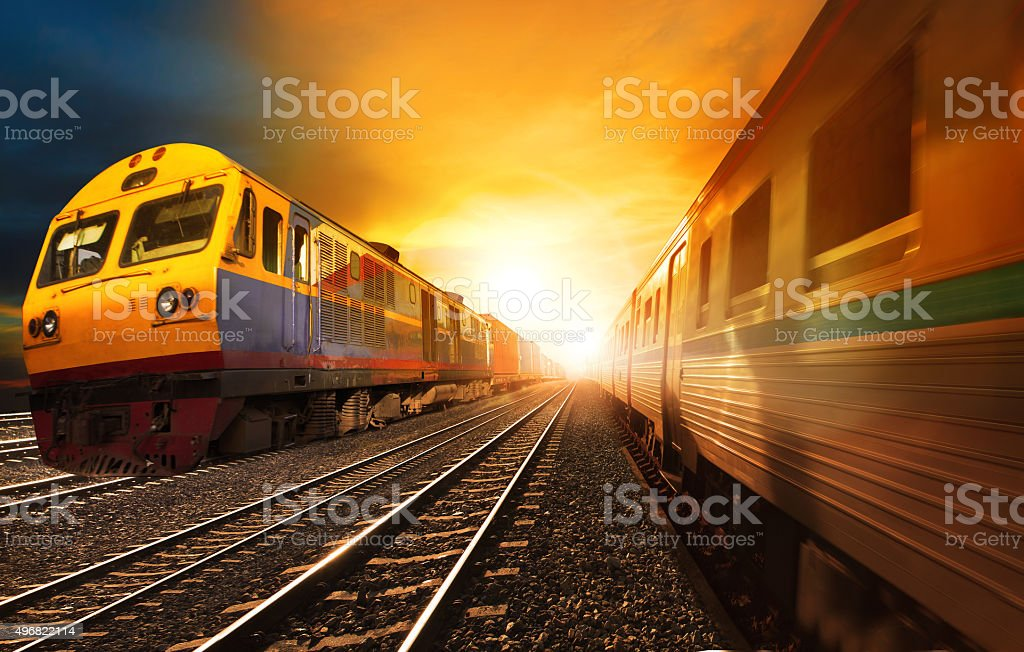 trains on track stock photo