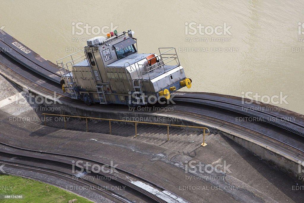 Trains side Panama Canal Miraflores stock photo