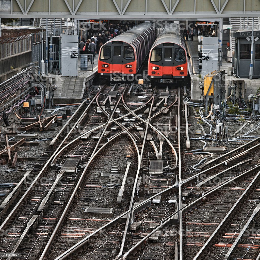 Trains standing in Stratford Station, London stock photo