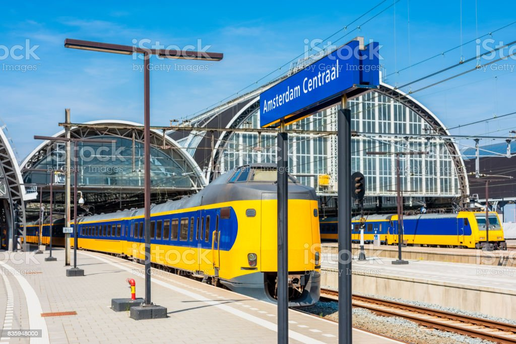 Trains Stationed on Amsterdam Central Railway Station stock photo