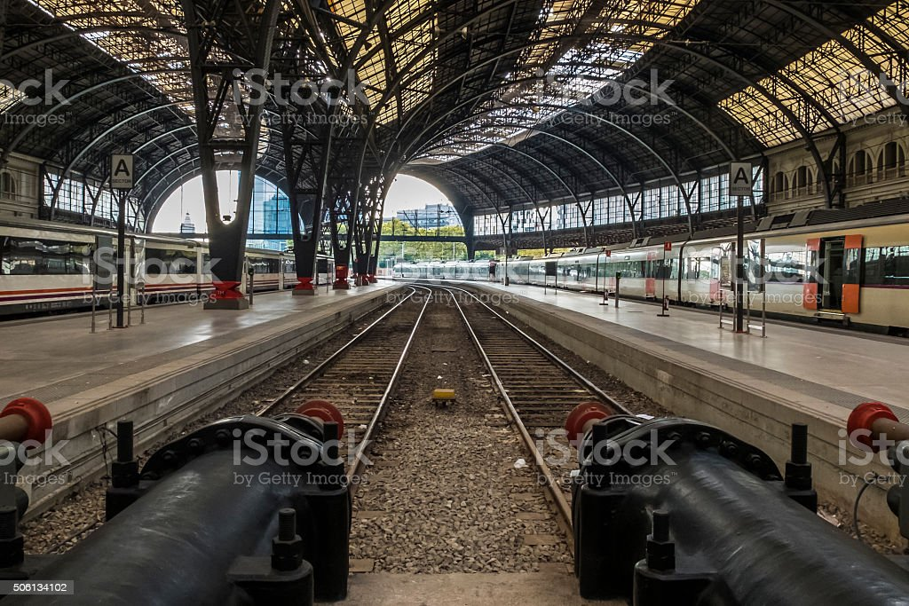 Trains waiting passengers stock photo