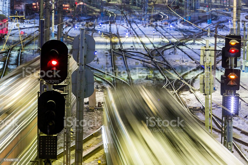 Trains with motion blur on long exposure royalty-free stock photo