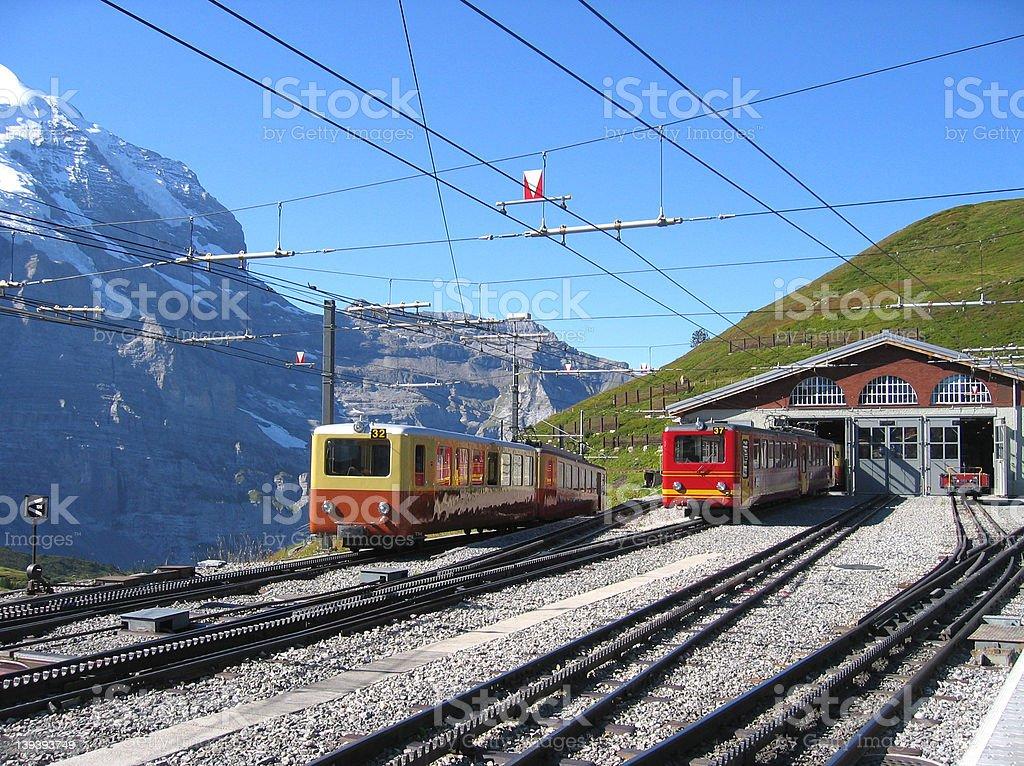 Trainstation in Switzerland stock photo