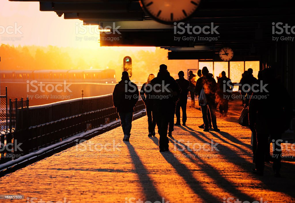 Trainstation in winter sundawn royalty-free stock photo