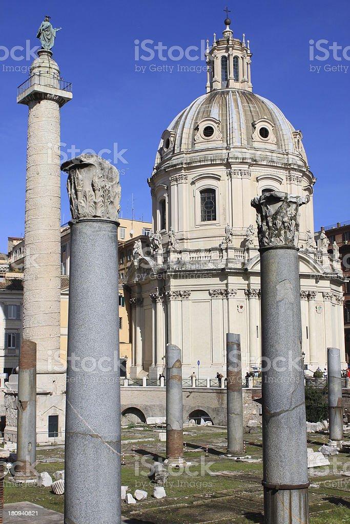 Trajan column and Ulpia Basilica royalty-free stock photo