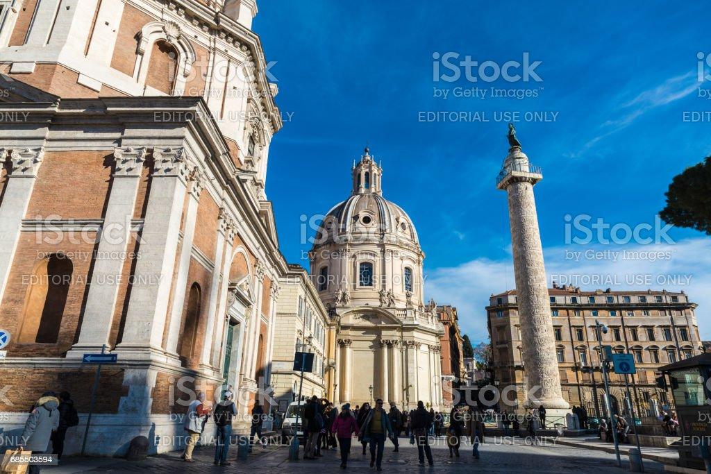Trajan's Column and Church of Santa Maria di Loreto in Rome, Italy stock photo