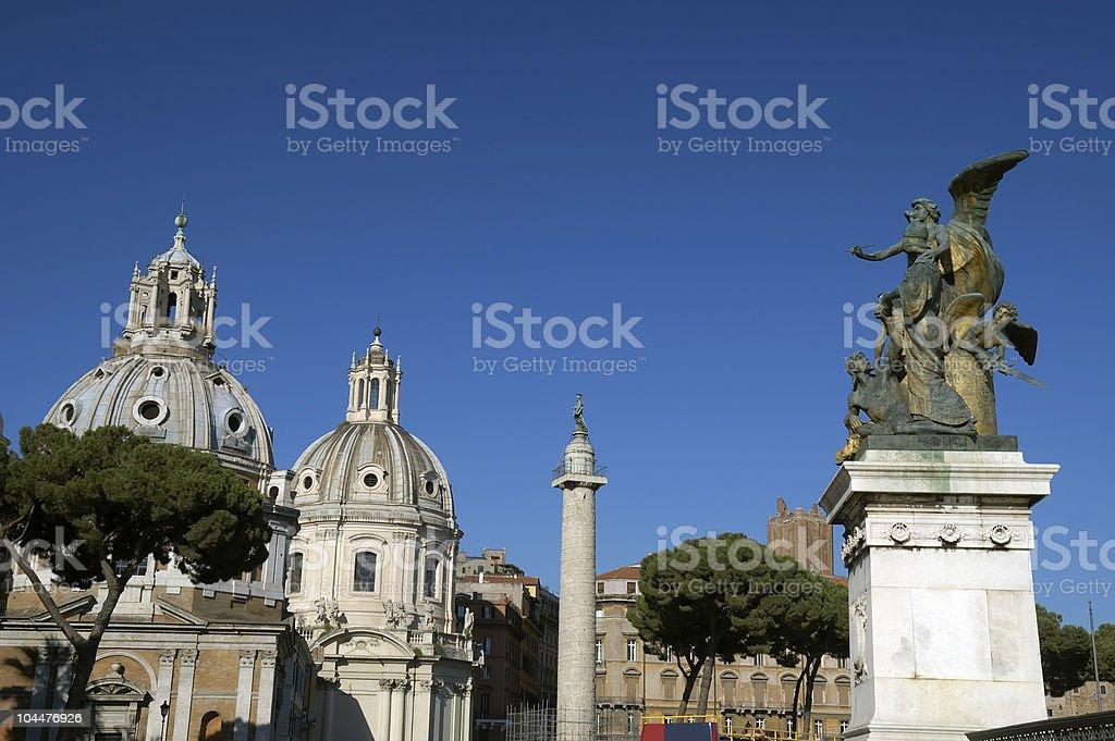 Trajan's column and monument to Vittorio Emanuele royalty-free stock photo