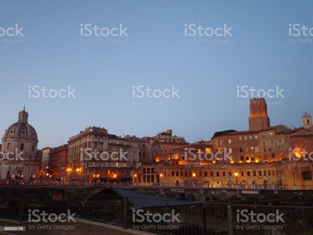 Trajan's Forum at night stock photo