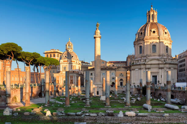 Trajan's Forum in Rome, Italy Ruins of Roman's forum at sunrise, ancient empire, Rome, Italy. roman forum stock pictures, royalty-free photos & images