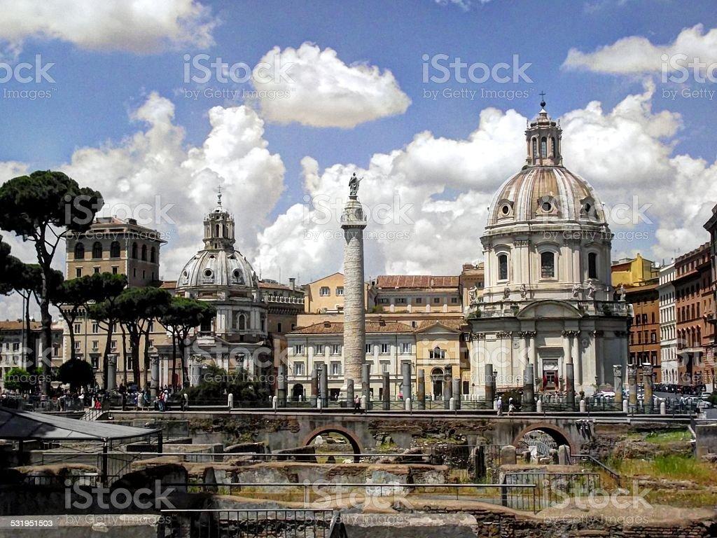 Trajan's Forum shot, Rome stock photo