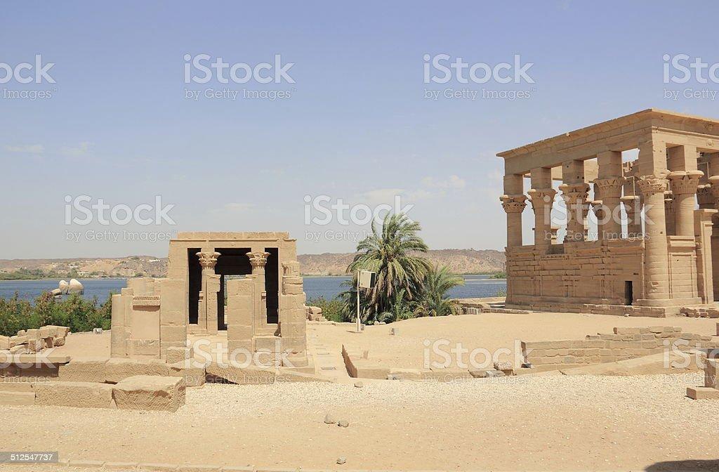 Trajan's Kiosk of Philae. The Philae Temple, on Agilkia Island. stock photo