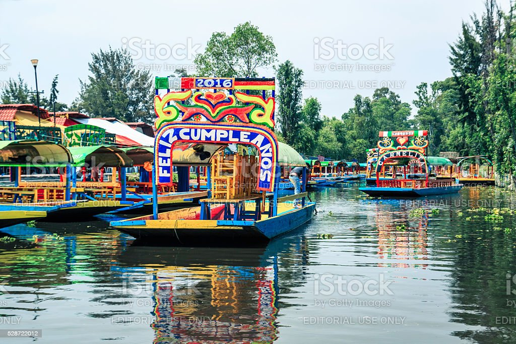 Trajinera Boats At ''Embarcadero Cuemanco'', Xochimilco - Mexico City stock photo