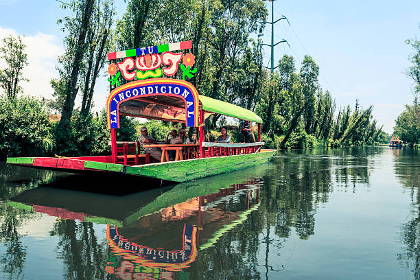 Trajinera Boats In The Canals, Xochimilco - Mexico City stock photo
