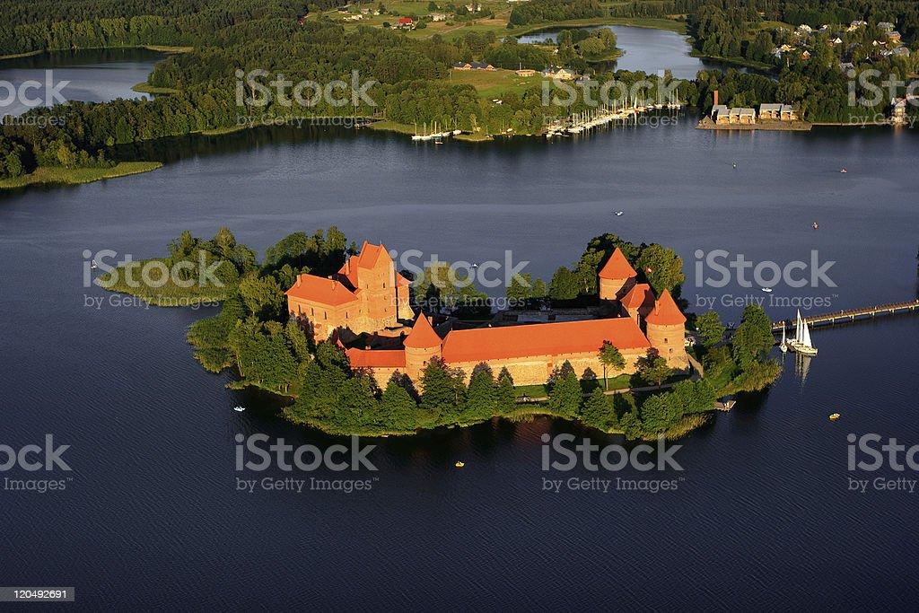 Trakai aerial view stock photo