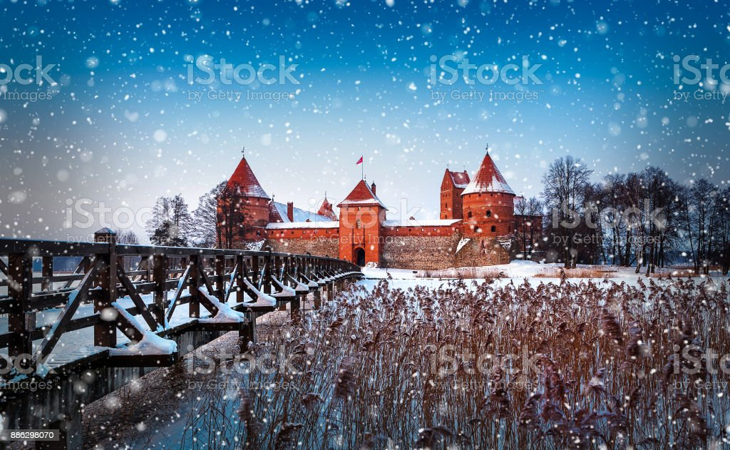 Trakai in winter, Lithuania. stock photo