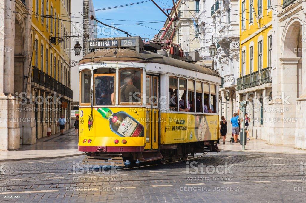 Tram 25 in Lisbon Portugal stock photo