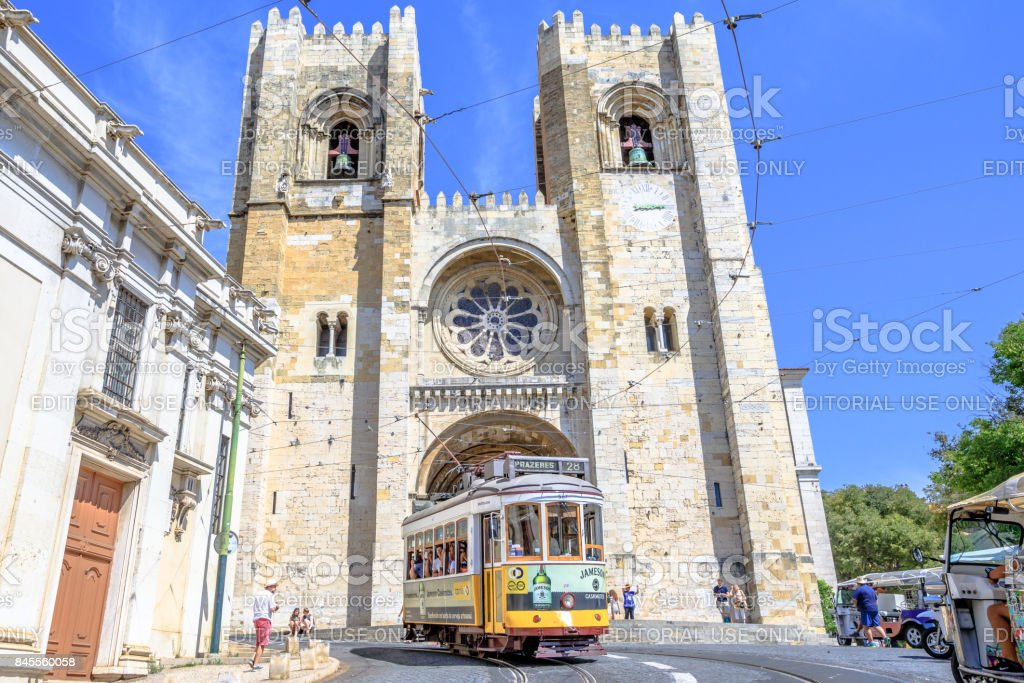 Tram 28 and Lisbon Cathedral stock photo