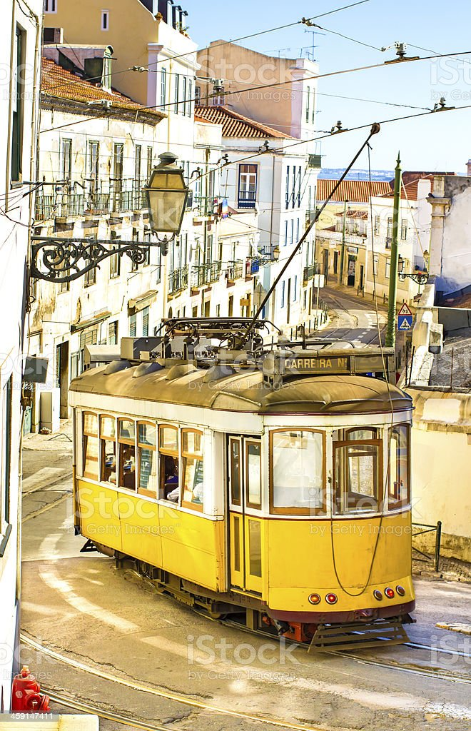 Tram 28 in Lisbon stock photo