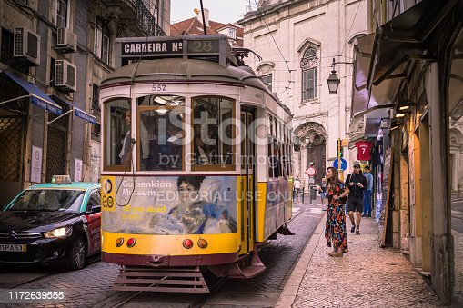 These historic trams are still in use in Lisbon, Portugal. The 28 route is completely unsuitable for modern trams, due to its numerous tight turns and steep gradients. Se Cathedral can be seen in the background.