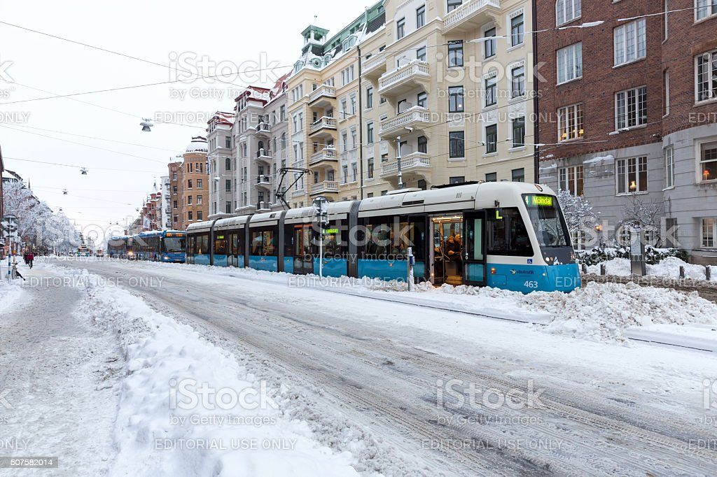 Tram and buss que. stock photo