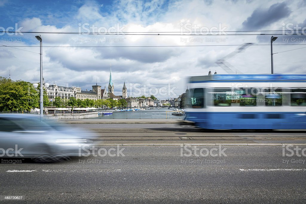 Tram and Car on a Bridge of Zurich, Switzerland stock photo