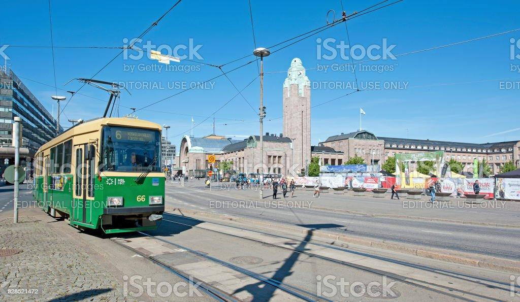 Tram and railway Station complex, Kluuvi, Helsinki, Finland stock photo