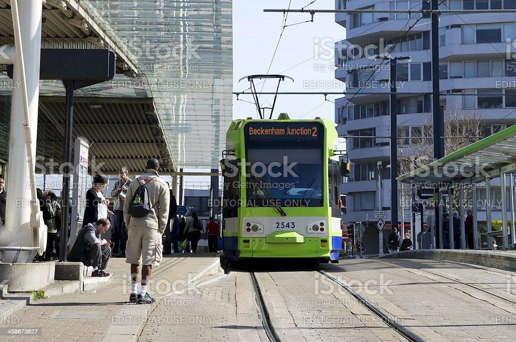 Tram at East Croydon station royalty-free stock photo
