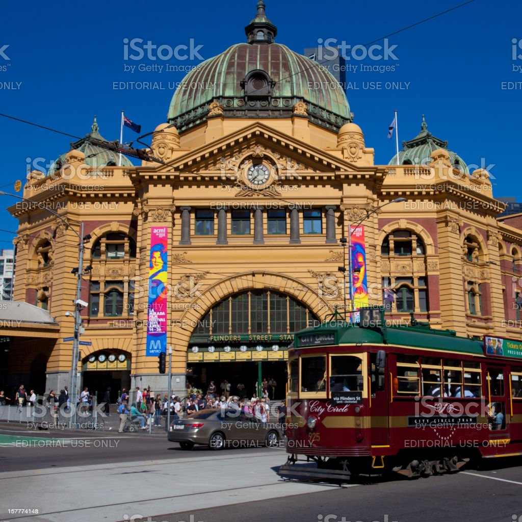 Tram at Flinders St Station royalty-free stock photo